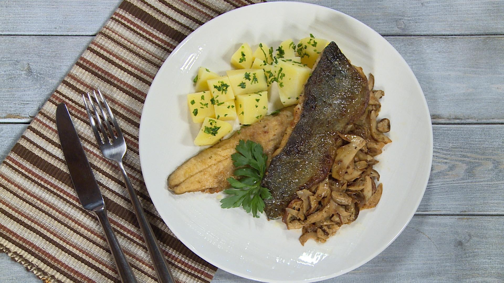 Pastrva s vrganjima i kuhanim krumpirom