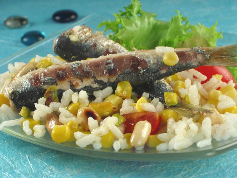 Srdele sa salatom od riže